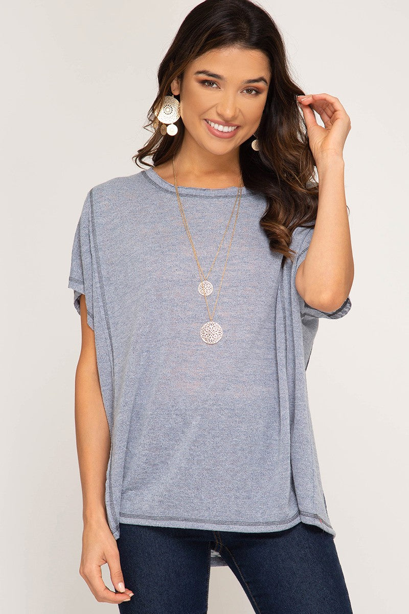 Short Sleeve Knit Top Contrast Reverse Stitch