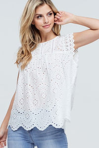 Sleeveless Top With Crochet Contrast