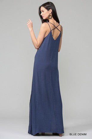 Solid V Neck Double Strap Maxi Dress With Side Slits
