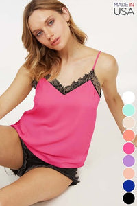 Solid Camisole With Lace Trim