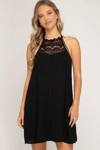 Sleeveless Woven Dress With Lace Detail And Lining