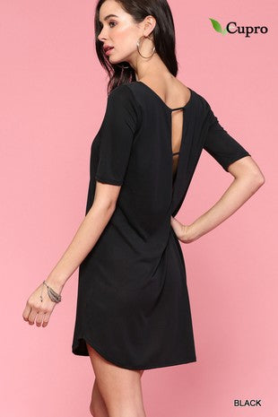 Wide Neck Elbow Sleeve Dress With Back Detail