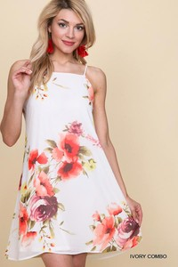 Spaghetti Strap Square Neck Halter Floral Print Dress