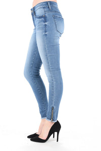 Low Rise Ankle Skinny With Zipper Detail