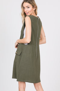 Button Detail Mini Overall Dress