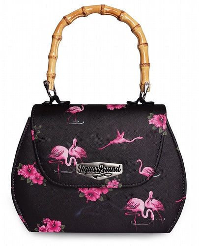Liquorbrand - Flamingos Black Handbag