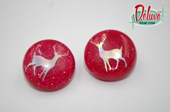 Doe a Deer - 25mm Flat Top Dome Earrings