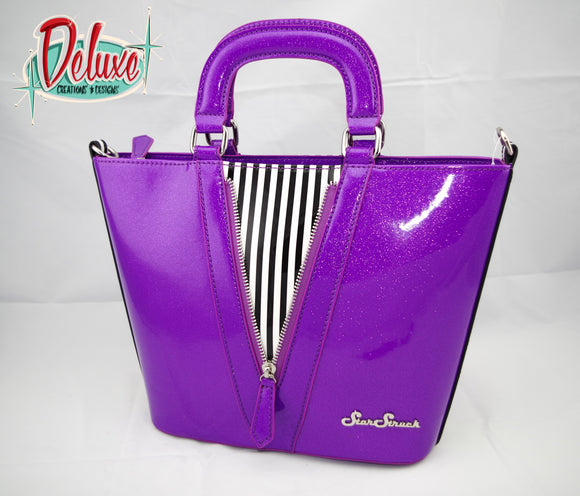 Star Struck - Vixen Tote - Violet / Black and White Stripe