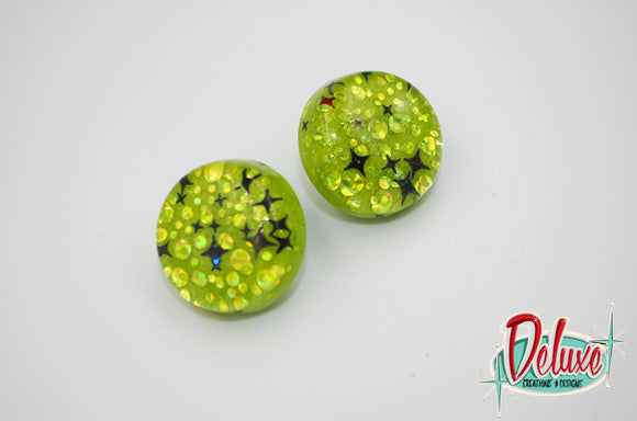 Lime Green Starbursts - 25mm Flat Top Dome Earrings
