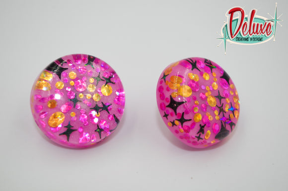 Pink Starbursts - 25mm Flat Top Dome Earrings