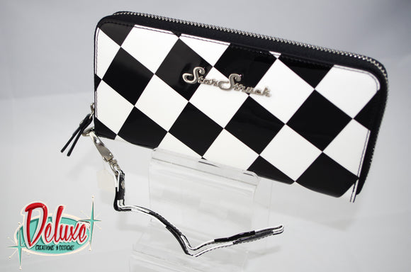 Star Struck Wristlet - Black and White Checkerboard