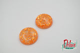 Orange Desire - 25mm Flat Top Dome Earrings