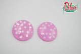 Pink and Opal Polka Dot - 25mm Flat Top Dome Earrings