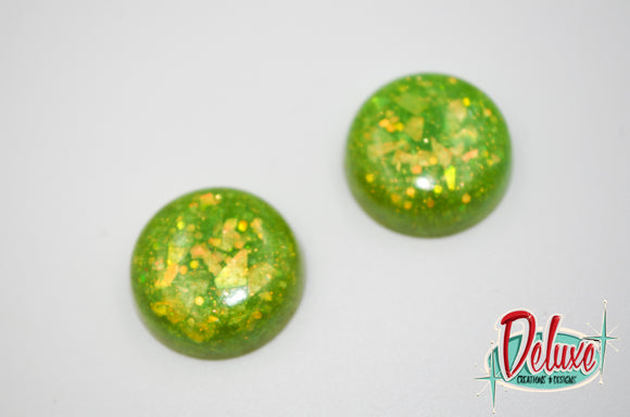 Effervescent Lime - 25mm Flat Top Dome Earrings