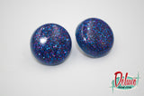 Blue Glitz - 25mm Flat Top Dome Earrings