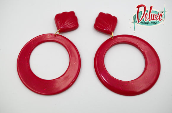 Red Shimmer - Large Hoop Earrings