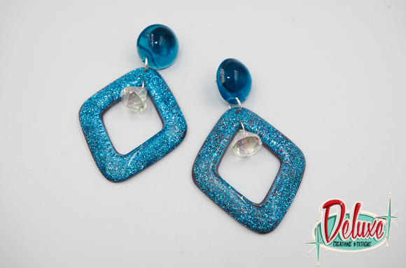 In a Gaze - Diamond shaped dangle earrings