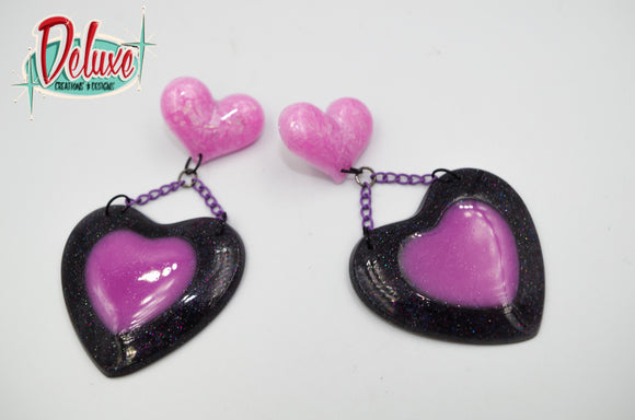 Double Beat  - Large Dangle Earrings