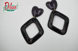 Black Magic - Diamond shaped dangle earrings