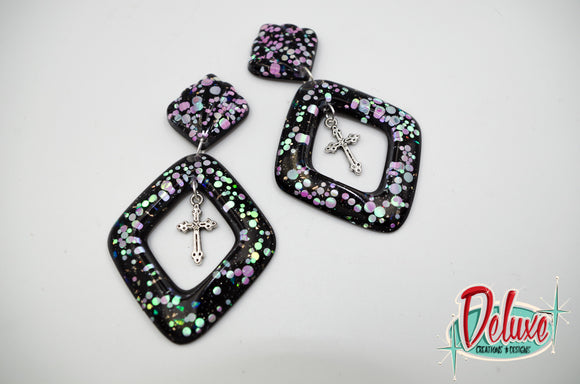 Dark Elegance Collection - Diamond Dangle Earrings