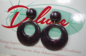 Black n Red - Small Hoop Earrings