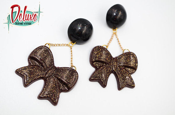 Bow Dangles - Large Dangle Earrings