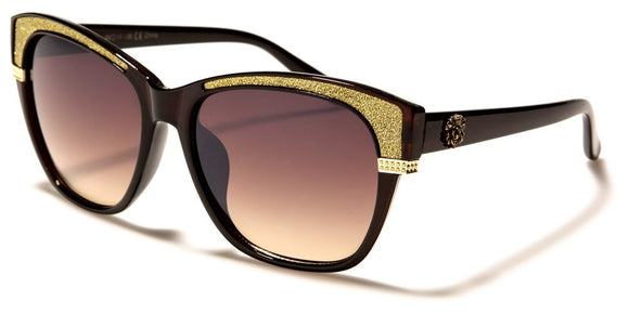Kleo - Cat Eye Sunglasses - Gold Glitz / Brown Lens