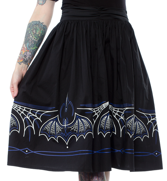 Sourpuss - Ladies Batty Pinstripe Skirt Blk/Blue
