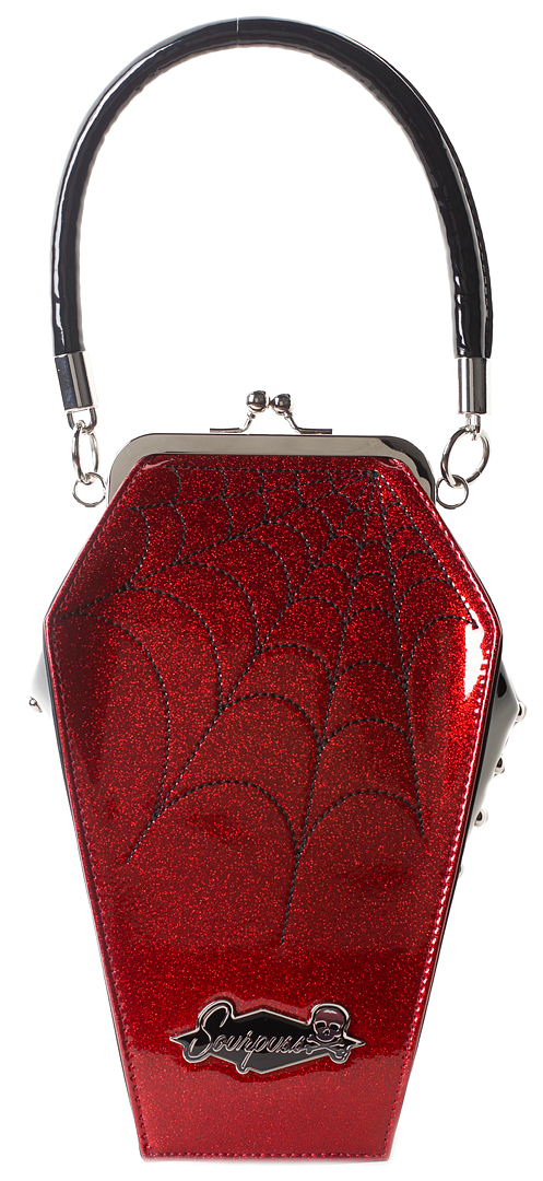 Sourpuss Coffin Sparkle Coffin Purse - Red
