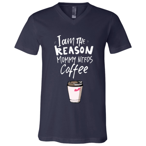Mom needs coffee | Canvas Youth Short Sleeve V-Neck Jersey T-Shirt