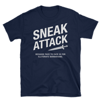 Rogue Sneak Attack - Illiterate Barbarians Unisex RPG Shirt - Dungeon Armory - Tabletop RPG Shirt Dungeons & Dragons T-Shirt Pathfinder RPG T-Shirt