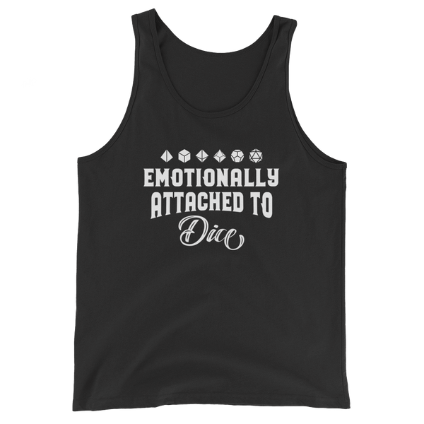 Emotionally Attached to Dice Unisex RPG Tank Top - Dungeon Armory - Tabletop RPG Shirt Dungeons & Dragons T-Shirt Pathfinder RPG T-Shirt