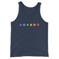 Horizontal Colorful Polyhedral Dice Set Unisex Tank Top - Dungeon Armory - Tabletop RPG Shirt Dungeons & Dragons T-Shirt Pathfinder RPG T-Shirt