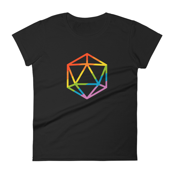 Rainbow Polyhedral D20 Dice Women's RPG Shirt - Dungeon Armory - Tabletop RPG Shirt Dungeons & Dragons T-Shirt Pathfinder RPG T-Shirt