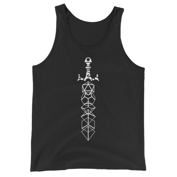Minimalist Dice Sword White Print Unisex RPG Tank Top - Dungeon Armory - Tabletop RPG Shirt Dungeons & Dragons T-Shirt Pathfinder RPG T-Shirt