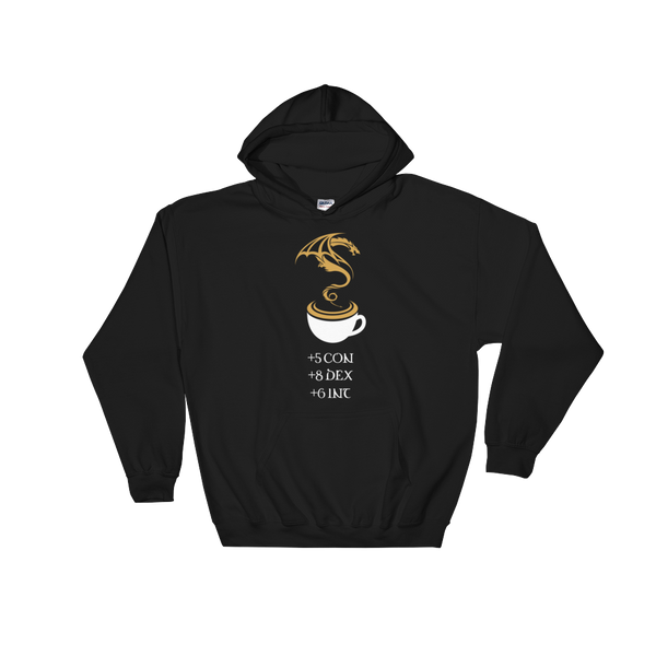 Coffee Stats Hooded Sweatshirt - Dungeon Armory - Tabletop RPG Shirt Dungeons & Dragons T-Shirt Pathfinder RPG T-Shirt