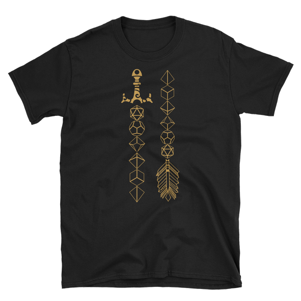 Polyhedral Dice Sword and Arrow Unisex RPG Shirt - Dungeon Armory - Tabletop RPG Shirt Dungeons & Dragons T-Shirt Pathfinder RPG T-Shirt