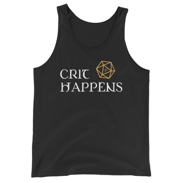 Crit Happens D20 Dice Unisex RPG Tank Top - Dungeon Armory - Tabletop RPG Shirt Dungeons & Dragons T-Shirt Pathfinder RPG T-Shirt