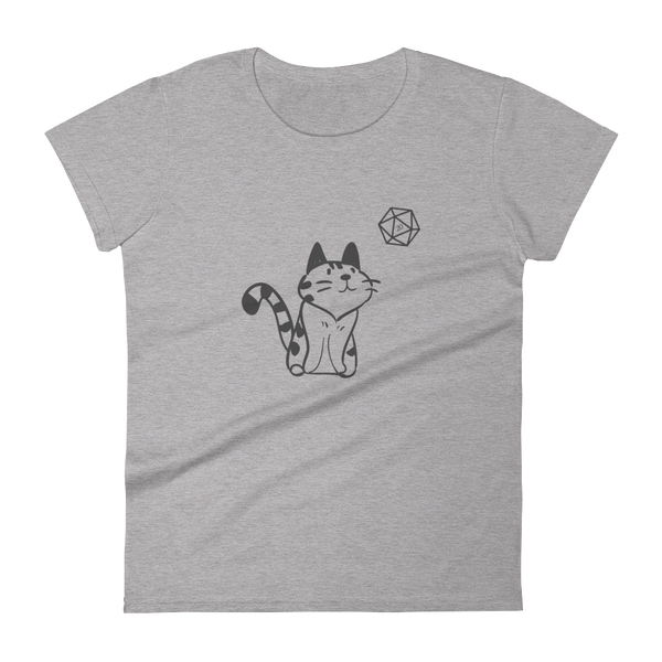 Kitty with D20 Dice Women's RPG Shirt - Dungeon Armory - Tabletop RPG Shirt Dungeons & Dragons T-Shirt Pathfinder RPG T-Shirt