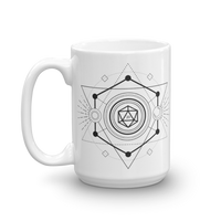 D20 Dice Minimalist Symbols White Ceramic D&D Mug - Dungeon Armory - Tabletop RPG Shirt Dungeons & Dragons T-Shirt Pathfinder RPG T-Shirt