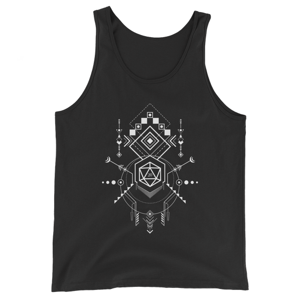 Minimalist D20 Dice with Geometric Symbols Unisex RPG Tank Top - Dungeon Armory - Tabletop RPG Shirt Dungeons & Dragons T-Shirt Pathfinder RPG T-Shirt