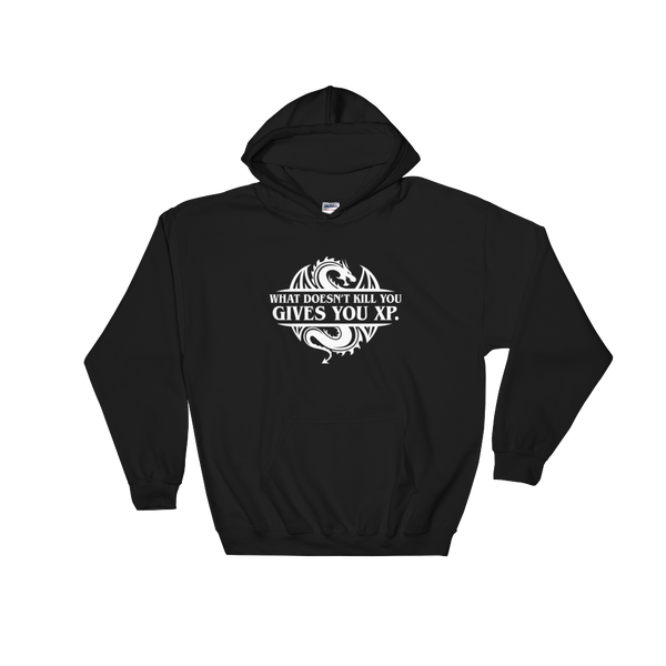 What Doesn't Kill You Gives You XP Hooded Sweatshirt - Dungeon Armory - Tabletop RPG Shirt Dungeons & Dragons T-Shirt Pathfinder RPG T-Shirt