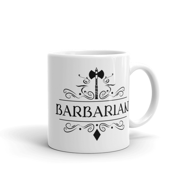 Dungeons and Dragons Shirt - Barbarian Emblem White Ceramic D&D Mug - DnD Shirts Dungeon Armory