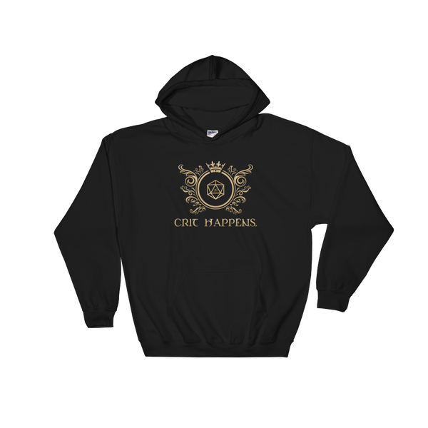 Retro Crit Happens Hooded Sweatshirt - Dungeon Armory - Tabletop RPG Shirt Dungeons & Dragons T-Shirt Pathfinder RPG T-Shirt