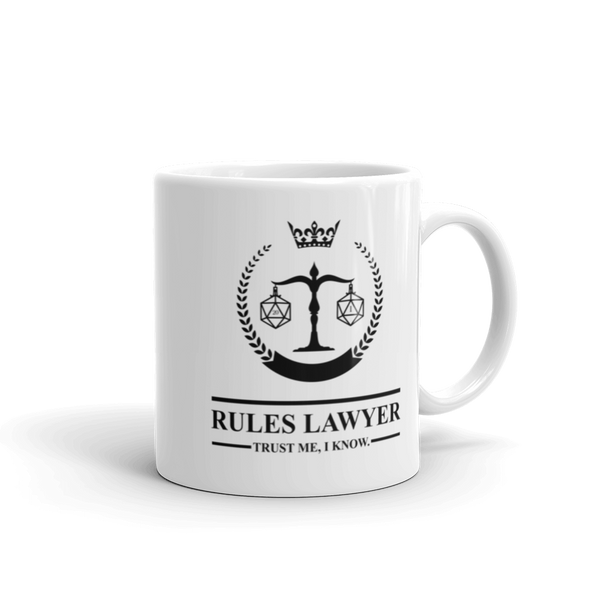 Dungeons and Dragons Shirt - Rules Lawyer - Trust Me I'm Right White Ceramic Mug - DnD Shirts Dungeon Armory