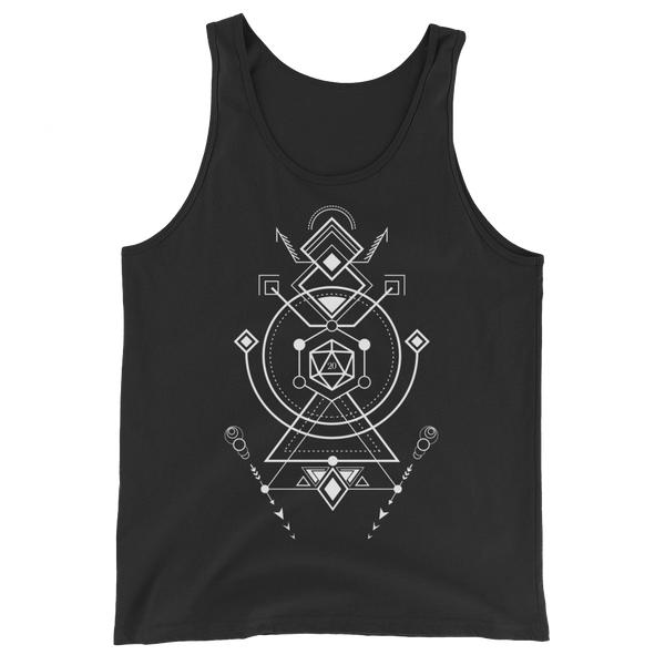 Minimalist D20 Dice with Futuristic Symbols Unisex RPG Tank Top - Dungeon Armory - Tabletop RPG Shirt Dungeons & Dragons T-Shirt Pathfinder RPG T-Shirt