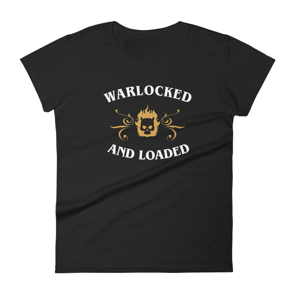 Warlocked and Loaded Warlock Women's RPG Shirt - Dungeon Armory - Tabletop RPG Shirt Dungeons & Dragons T-Shirt Pathfinder RPG T-Shirt