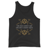 The Dice Giveth and The Dice Taketh Away Unisex RPG Tank Top - Dungeon Armory - Tabletop RPG Shirt Dungeons & Dragons T-Shirt Pathfinder RPG T-Shirt