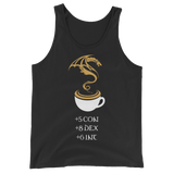 Coffee Stats Unisex RPG Tank Top - Dungeon Armory - Tabletop RPG Shirt Dungeons & Dragons T-Shirt Pathfinder RPG T-Shirt