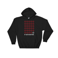 It Gets Better D20 Dice Hooded Sweatshirt - Dungeon Armory - Tabletop RPG Shirt Dungeons & Dragons T-Shirt Pathfinder RPG T-Shirt